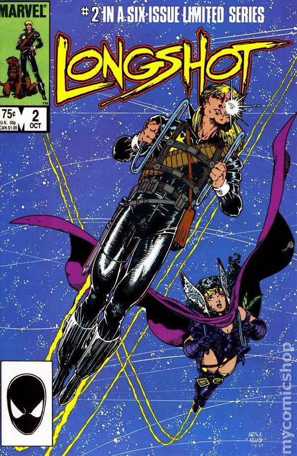 Longshot #2. My favorite comic series because it is not more like a fantasy movie. I bought all 6 issues (by Ann Nocenti and Art Adams) at Flood City Comics. Except for #1--that cost me all my Transformer comics...sucker.