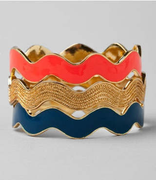 gold: Colors Combos, Arm Candy, Bangles Sets, Lilly Pulitzer, Rickrack, Chevron Bracelets, Jewelry, Rick Racks, Ric Rac