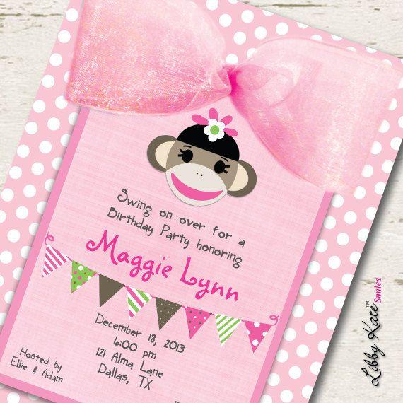 Sock Monkey Birthday Girl Invitation Printables by LibbyKateSmiles, $1.69