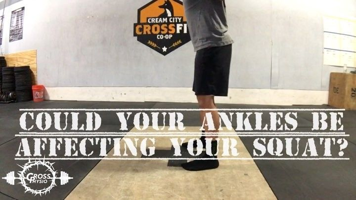 WISDOM WEDNESDAY  Dont forget to follow @crossphysiopt for more quality posts and be sure to comment below with any questions you may have!  Biomechanics and physics! Thats what were talking about this week. More specifically were demonstrating how your ankles could be limiting your squat affecting your hip gainz and increasing stress across your low back musculature. - When looking at an ideal air squat we want to see the torso remain upright and the knees travel forward over the toes…