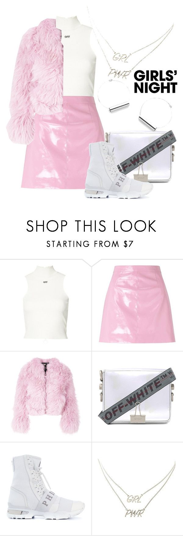"""Pinky Kay"" by memevianti on Polyvore featuring Off-White, Miss Selfridge, Charlotte Simone, Philipp Plein, Charlotte Russe, Pink, girlsnight, EdgyStyle and srtreetstyle"