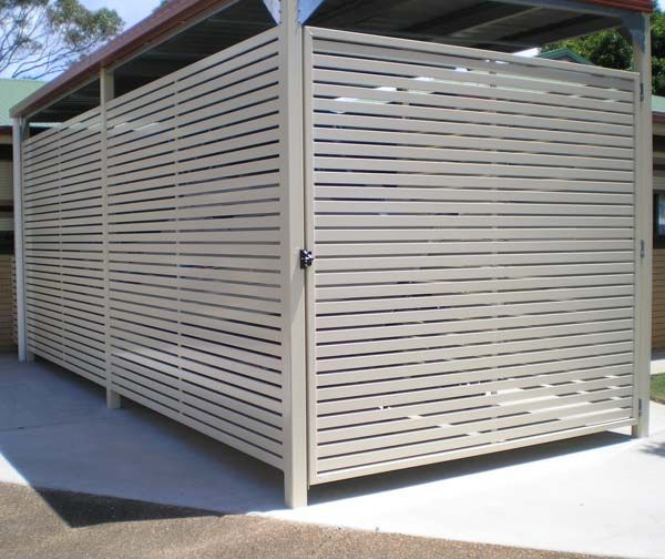 colorbond steel carport screen and gate with slats in