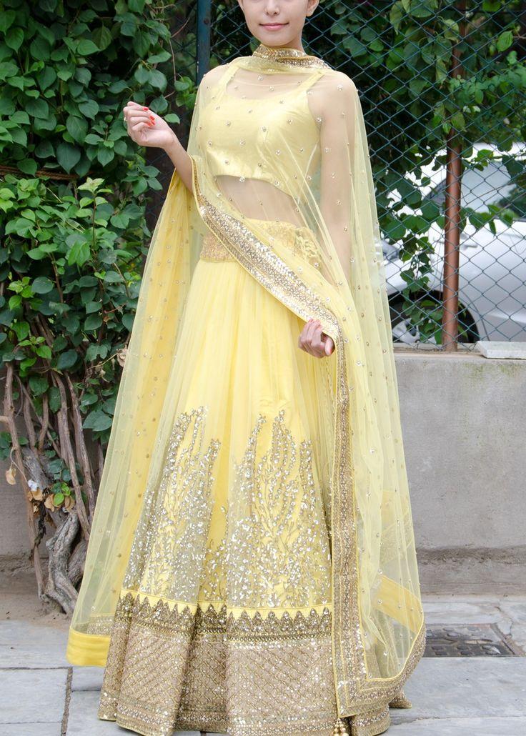 Yellow Net lehenga Choli