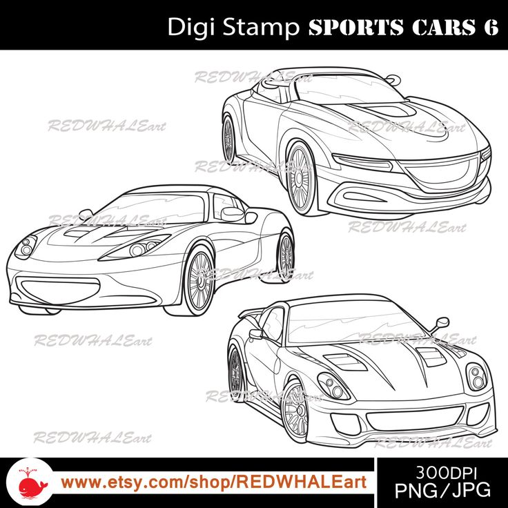 Sports Cars6/ Black & White /Digital Images/ Clipart Elements Set / 3 PNG/JPG / For Personal and Commercial use/ Clip Art/ Instant Download by REDWHALEart on Etsy