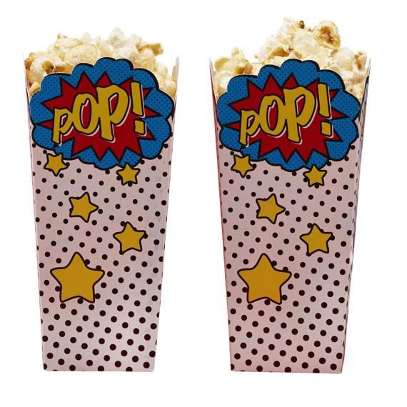 "COMIC SUPERHERO POPCORN BOXES - Cool Comic Superhero themed Popcorn Boxes, perfect for either a children's party or birthday celebration. Use these fun popcorn boxes to display food for your hungry guests! Each pack contains 8 comic ""POP"" wording popcorn boxes. Boutique style partyware by Ginger Ray. Each pack includes 8 popcorn boxes.  Popcorn box height approx. 6.25 inches."