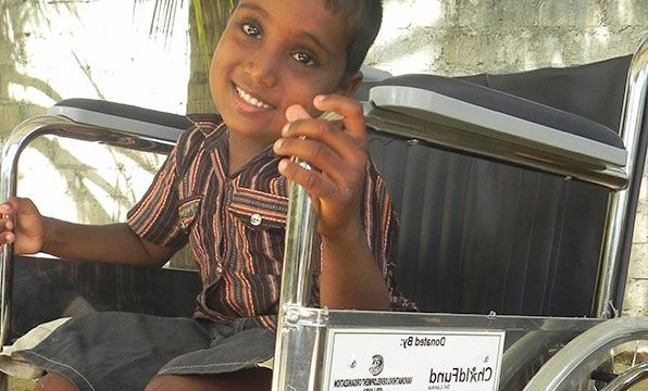 Wheelchair: Wheelchairs aren't affordable for families with disabled children living in poverty. This wheelchair dramatically improves the life of a Sri Lankan child by giving them independence, and better access to school and hospitals.