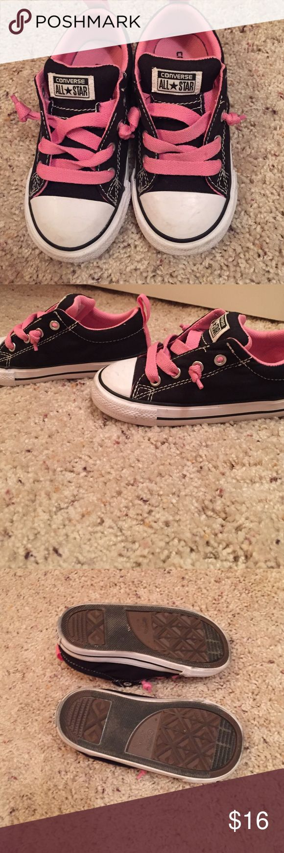Black and pink kids converse Black w pink strings and inside. These are chucks but they are made a little thicker for kids. Only worn twice. Converse Shoes Sneakers