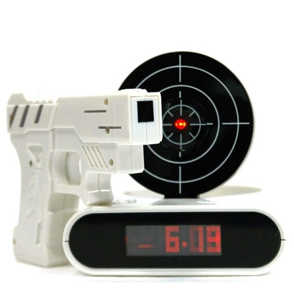 Wake up like a spy... shoot the alarm clock to put it on snooze.