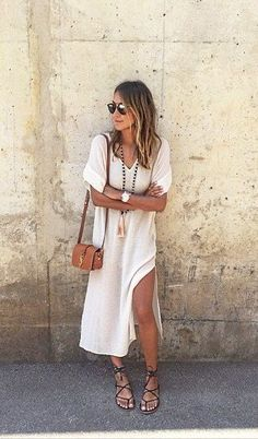 Boho Street Style Inspiration: White Kaftan Dress + Gladiator Sandals Casual Chic Summer Look /search/?q=%23johnnywas&rs=hashtag