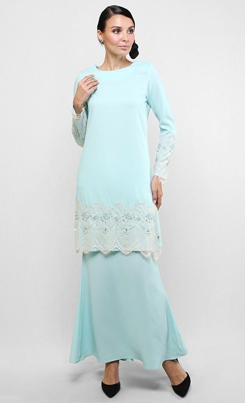 Baju Kurung Modern Lace Dhia in Light Blue