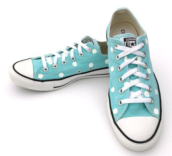 1d6e39add820 ARUBA Blue Converse with Hand Painted White Polka Dots - Women s Size 10 -  Men s Size 8