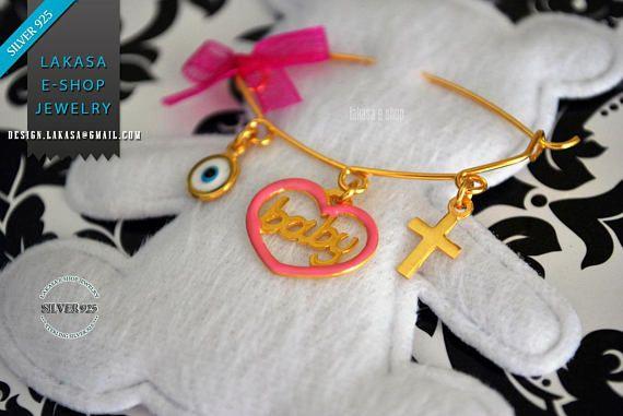 Pink Enamel Heart Baby Brooch Sterling Silver Gold Handmade #baby #girl #enamel #brooch #silver #jewelry #motherday #name #personalised #joyas #mujer #woman #moda #jewellery #γυναικα #μωρο #νεογεννητο #δωρο #παραμανα #καρφιτσα #κοριτσι #καρδια