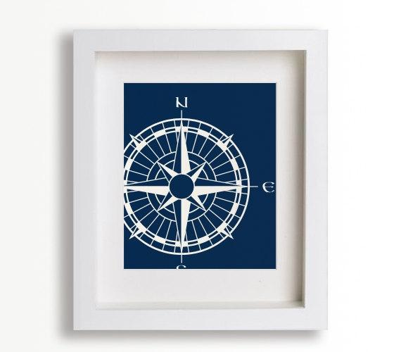 Nautical Compass 8x10 Art Print - home decor, wall decor, living room decor, dining room decor, maritime, beach cottage. $14.95, via Etsy.