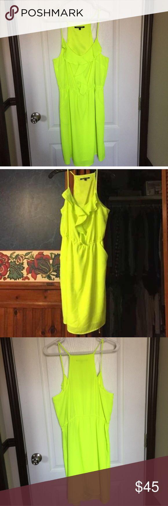 Gianni Bini neon yellow dress Neon yellow dress with two side pockets! Worn once. Gianni Bini Dresses Mini