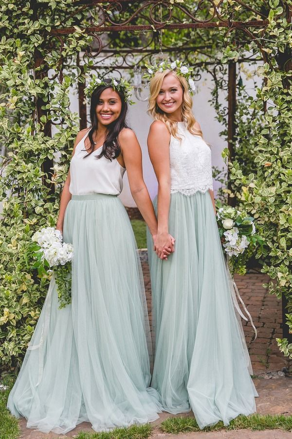 Two tone bridesmaids dresses in white and dusty blue
