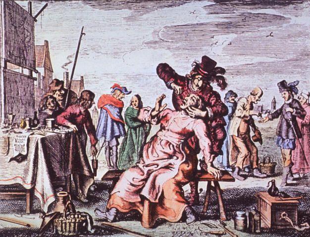 Un dentiiste sur la place du village au XVIII siècle - I dipinti caricaturali che rappresentano i cavadenti in azione sono numerosi e spesso feroci, decisamente questi personaggi non erano molto amati nemmeno dai pittori.
