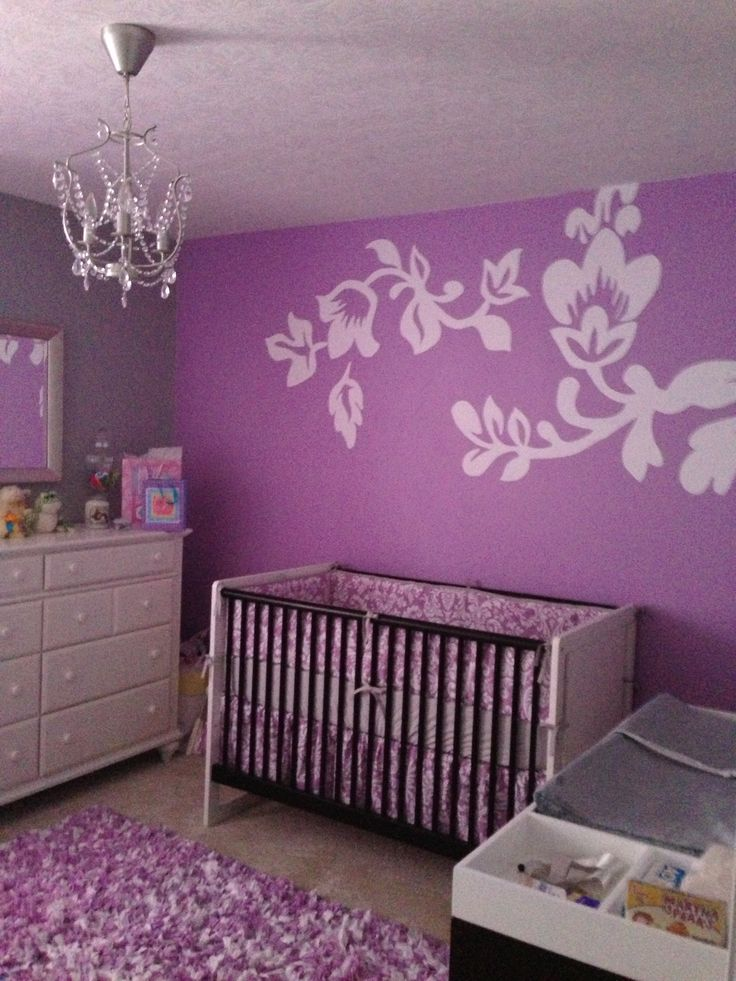 Purple and grey baby room just finished. For my baby girl