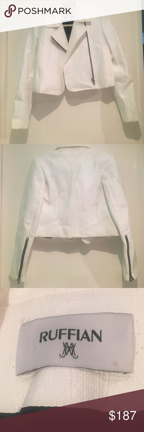 Ruffian White Leather Jacket This leather jacket from Ruffian has never been worn and is in excellent condition! It's a size 4! Great leather jacket! Please, no trades. Offers are welcomed :) Ruffian Jackets & Coats