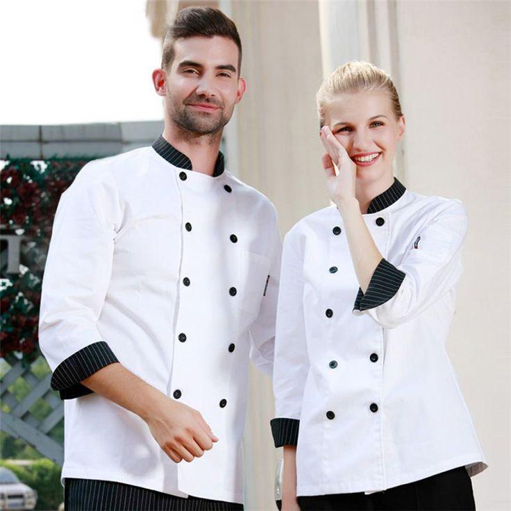 Wholesale Retail Checkedout Custom Logo Solid Chef Uniform Men Women Polyester Cotton Waiters Uniforms S-3XL Free Shipping
