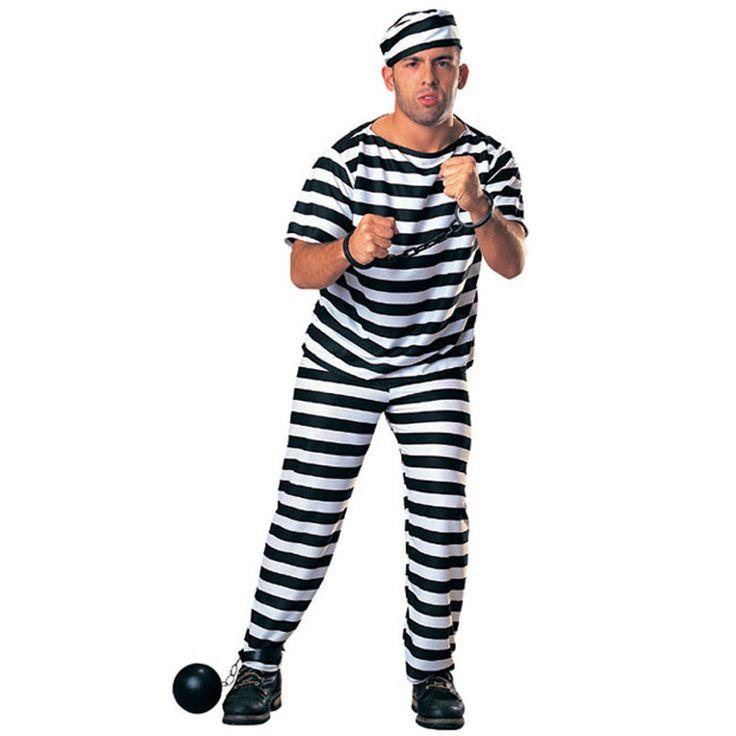 New Arrival Men Prisoner Uniform Streak Costume Halloween Carnival Cosplay Clothing Performance Fancy Dress Party Clothes #Affiliate