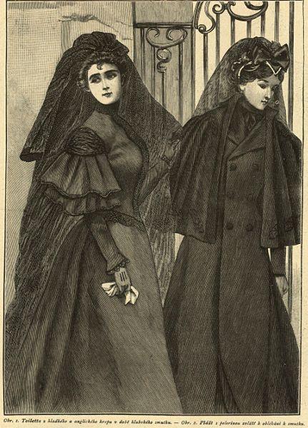 Stroje do ciężkiej żałoby, 1895   Heavy mourning outfits, 1895