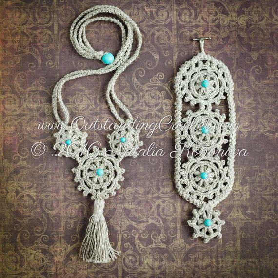 Crochet Beaded Bracelet and Necklace Set por OutstandingCrochet