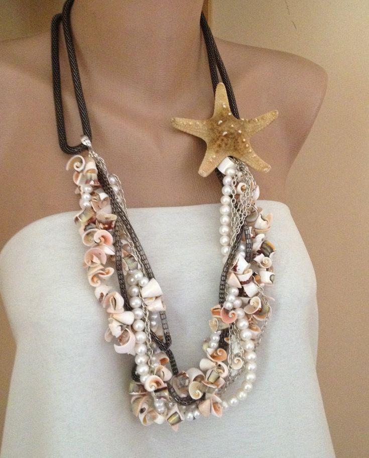 Collar de bodas playa hecho a mano collar de novia perlas de
