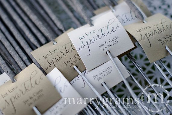 Sparkler Tags  Let Love Sparkle  Wedding Favor Tags by marrygrams