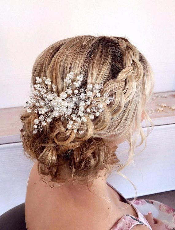 Bridal Headpiece With Comb Pearl Bridal Hair Comb Wedding Headpiece Wedding Hair Accessories Bri Prom Hair Updo Bridal Hair Combs Pearl Bridal Hair Pieces