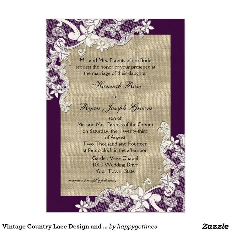Vintage Country Lace Design And Burlap Purple