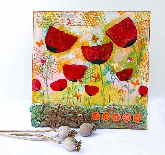 Red Poppies Mixed Media Painting Original Artwork on 10x10