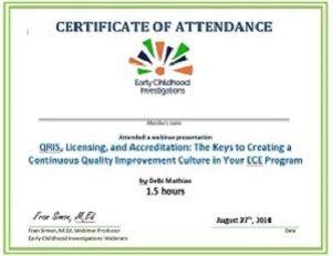 Sapmple Certificate Webinars Ece Certificate Oklahoma