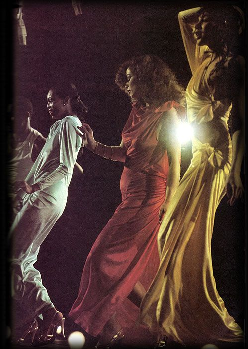 Disco 1970s.  and we all wore those great long lycra dresses!