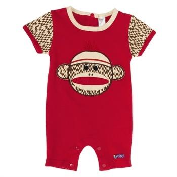 Sozo Infant Boy Sock Monkey Short Romper - for Joshua