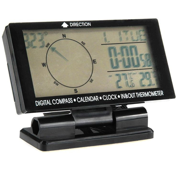Car Auto Digital Electronic Compass With Clock Thermometer Travel Guiding db