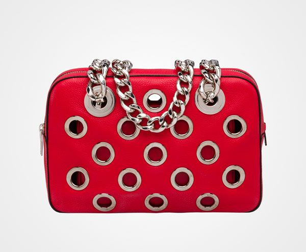 Prada - Top Handle - Calf leather top-handle bag with grommet ...