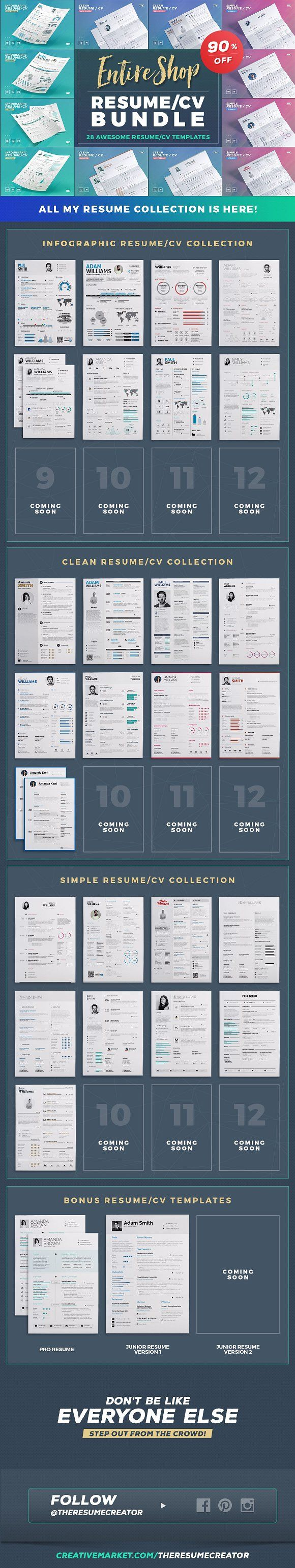 accomplishments in resume%0A Entire Shop  Resume Cv Bundle by TheResumeCreator on  creativemarket
