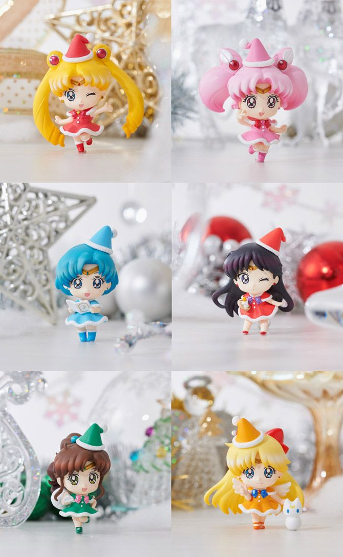 The girls are dressed in colourful Santa Claus style outfits with their tiaras and brooch bows. There are six figures to this set: Sailor Moon, Sailor Chibimoon, Sailor Mercury, Sailor Mars, Sailor Jupiter and Sailor Venus.