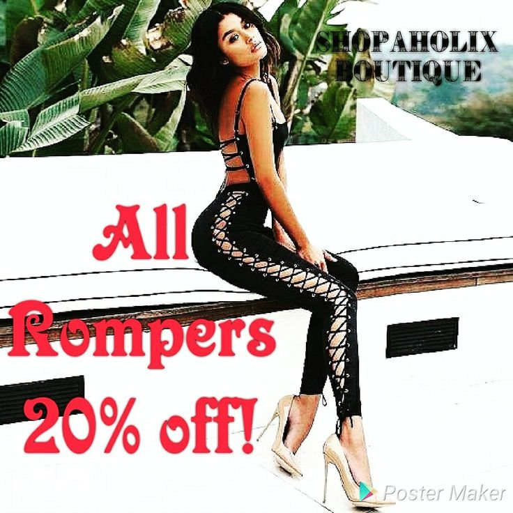 What better way to end the week with 20% off all ladies Rompers! Discount applied at checkout! This weekend only so Shop today!  https://shopaholixboutique.com/collections/rompers-and-jumpsuits/