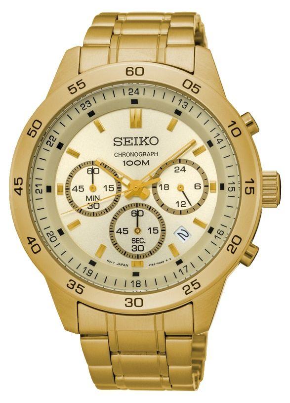 ساعة يد سيكو رجالي كرونوغراف سوار استانلس ستيل مينا لون ذهبي و مقاومة للمياه حتى مسافة 100 متر Sks526p1 Gold Watch Gold Breitling Watch