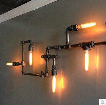 бра высокого качества Водопровод старинные проходу огни чердак железная стена лампы E27 * 5 с 5 шт Эдисон луковицы внутри, принадлежащий кат...