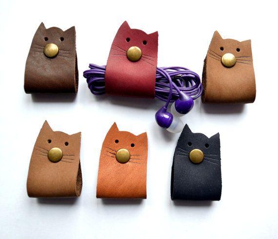 Leather cord wrap cat Cord holder organizer earbud holder leather cord organizer cat lover gift earphone holder gift under 10