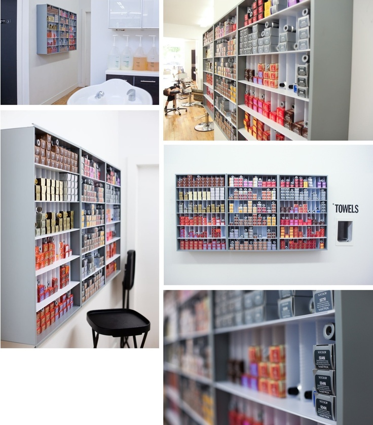 Now this an organized color room towel hole in the wall to for A design and color salon