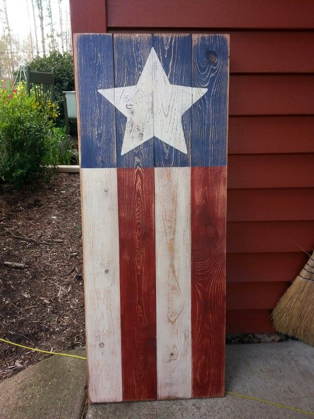 American flag wood sign