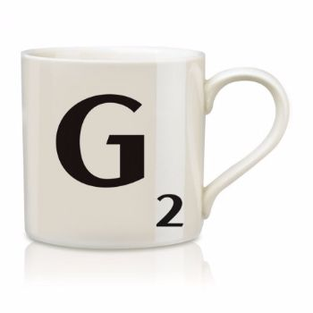 Scrabble Mug G: Scrabble mugs – collect the set for when you have 25 friends round for tea.