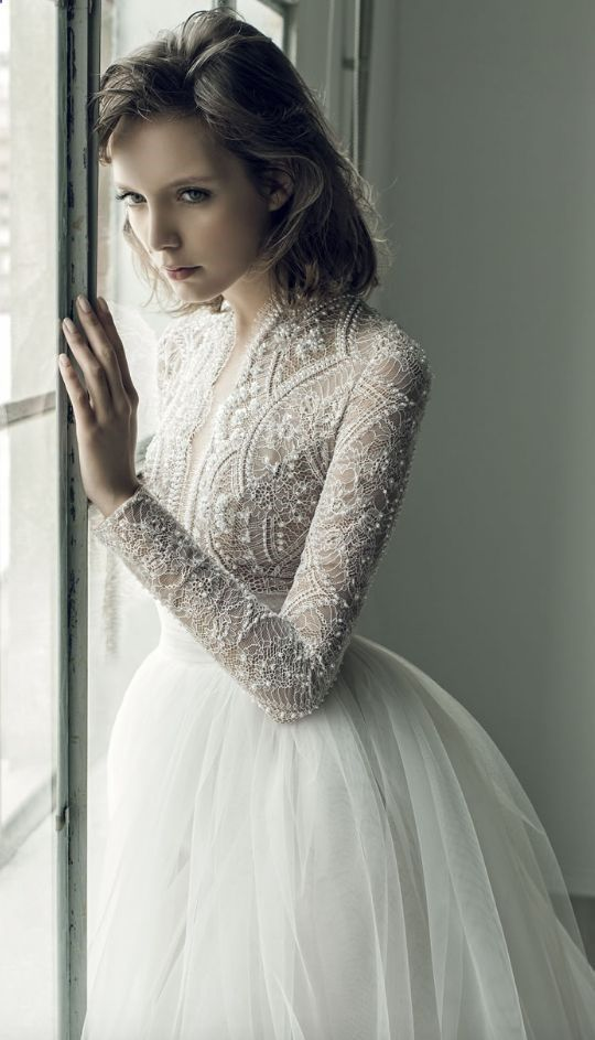 Elegantly unique long-sleeve netted and beaded tulle skirt wedding dress; Featured Dress: Ersa Atelier