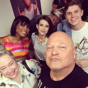 American Horror Story: Freak Show cast. Front: Kathy Bates and newcomer Michael Chiklis, who will be playing exes. Back: Angela Bassett, Emma Roberts & Evan Peters.