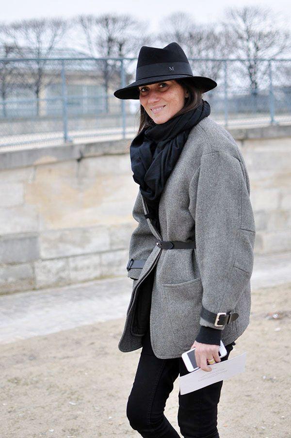 that awesome topper/hat combo in true #EmmanuelleAlt style. fab. Paris. #PFW