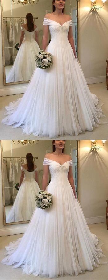 Fabulous Off Shoulder Pleated Tulle V-neck Princess White Wedding Dresses, by pr...
