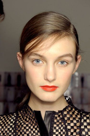 All about the coral orange lip! Red Signals at Akris - Best Spring 2013 Fashion Week Makeup Looks